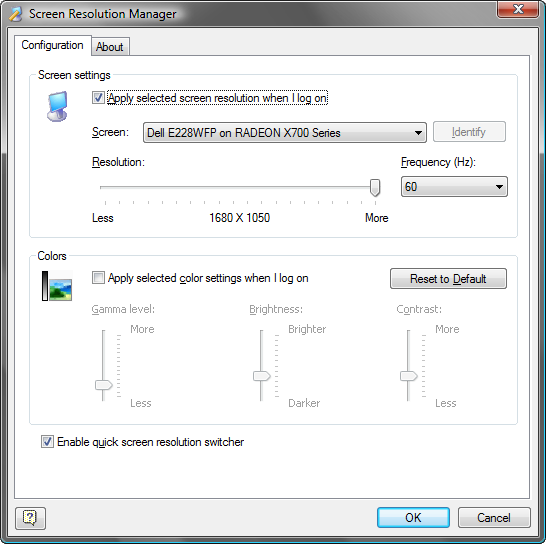 Screen Resolution Manager user interface screenshot